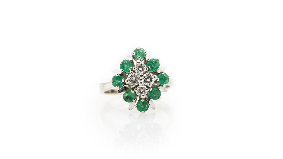 Emerald & Diamond Cluster Ring view 1