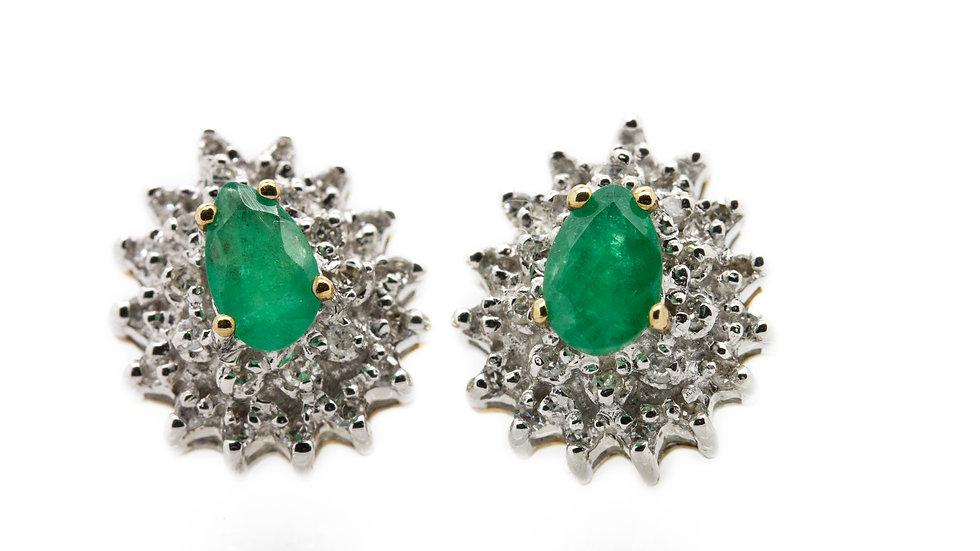 Pear Cut Emerald Earrings
