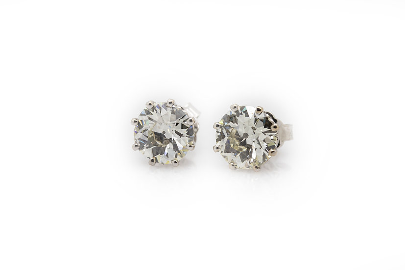 5 Carat Diamond Solitaire Earrings Mulroy Antiques view 1