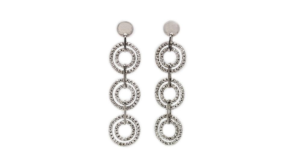 Sterling Silver Diamond Cut Triple Drop Earrings