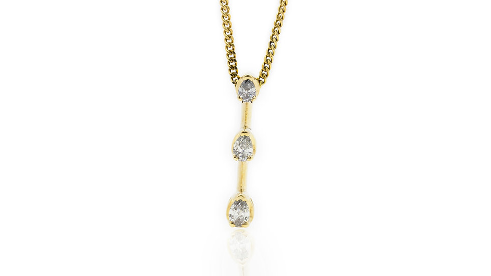 Diamond Drop 3 Stone Pendant