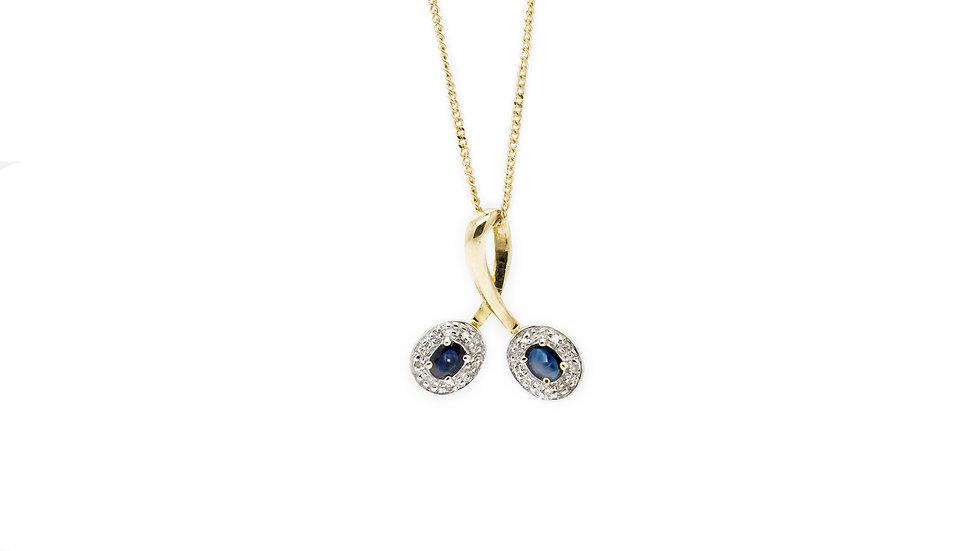 Sapphire Twist Pendant Necklace