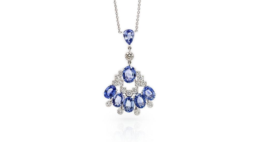 Sapphire & Diamond Necklace view 1