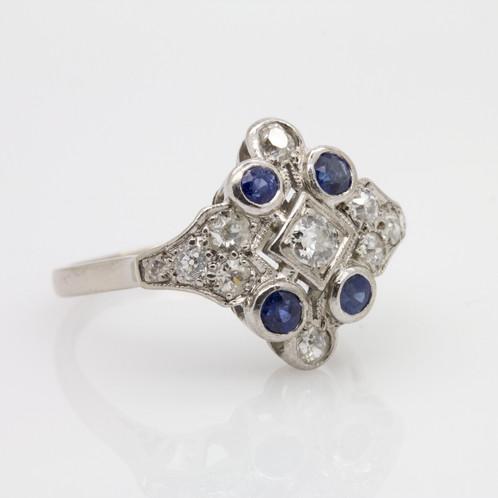 1650 Art Deco Sapphire Diamond Ring Fine Diamonds