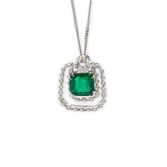 Emerald & Diamond Pendant Necklace