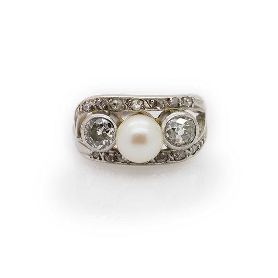 Pearl & Diamond Trilogy Ring view 1
