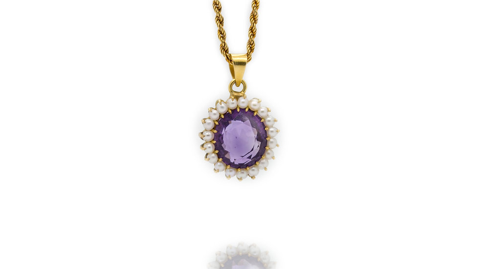Amethyst & Pearl Pendant view 2