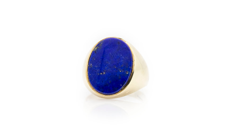 Yellow Gold Blue Stone Mens Ring
