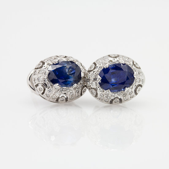 Sapphire& Diamond Earrings