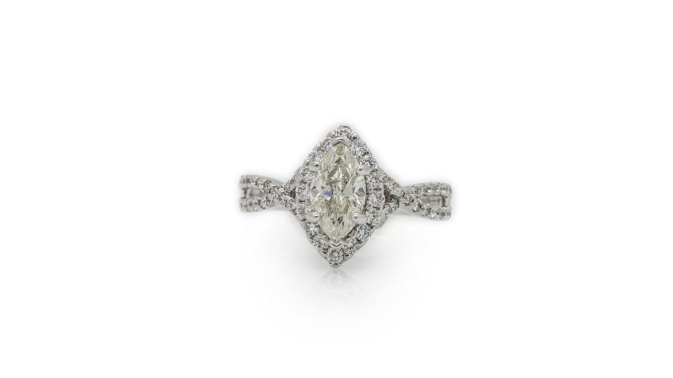 Marquise Diamond Ring With Diamond Halo