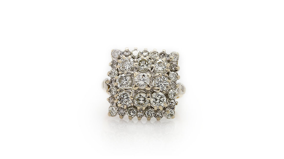 Square Cluster Cocktail Ring