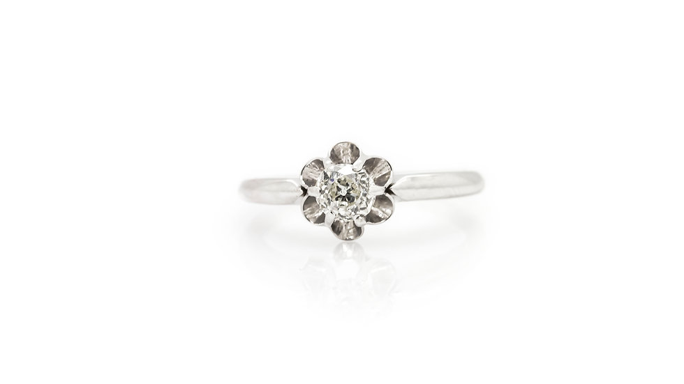 Old Rose Cut Diamond Solitaire Ring front view