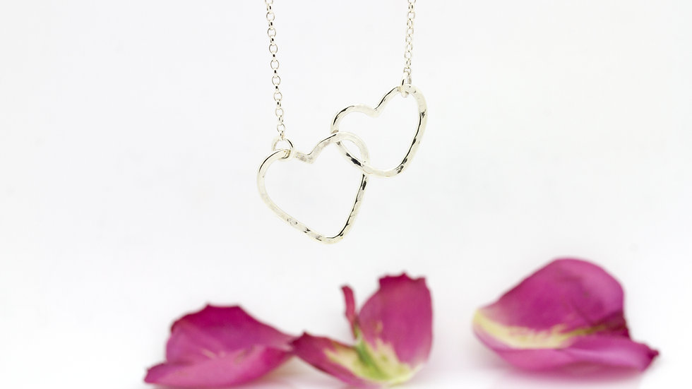 Silver Hearts Connected Necklace