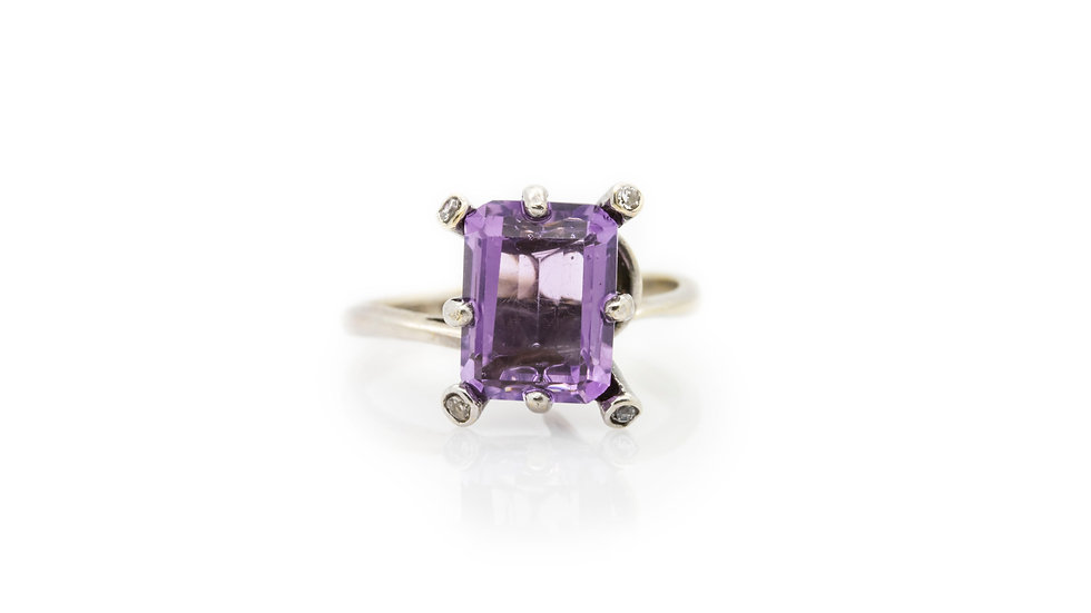 Amethyst Ring baguette cut