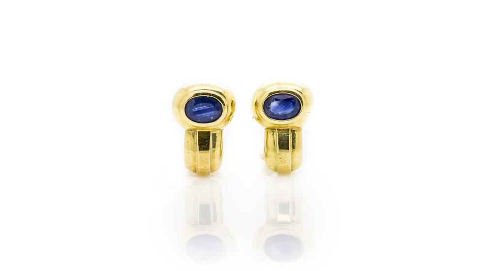 Sapphire Clip On Yellow Gold Earrings view 1