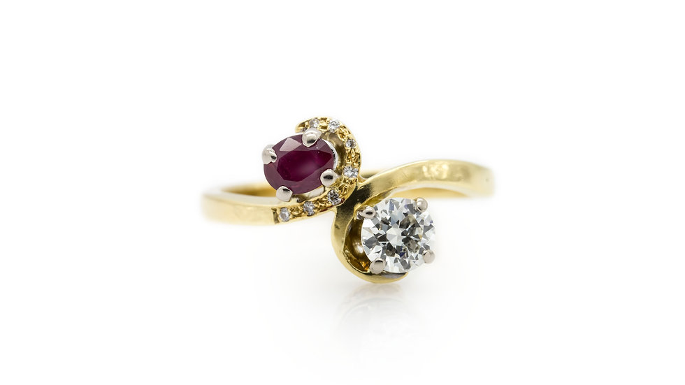 Ruby & Diamond Twist Ring view 1
