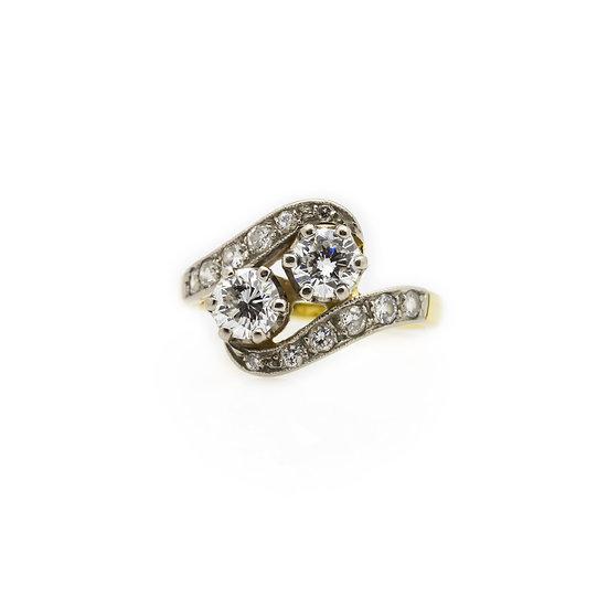 Diamond 2 Stone Twist Ring mulroy antiques view 1