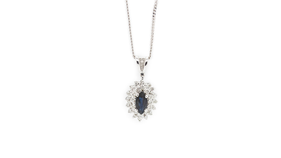 Sapphire & Diamond Halo Pendant Necklace view 1