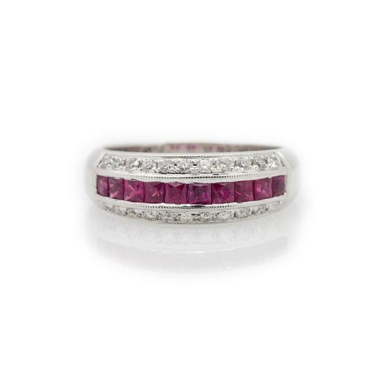 Ruby & Diamond Band Ring view 1