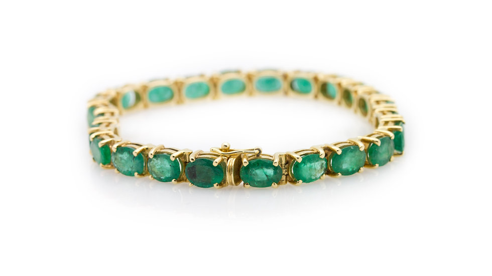 Yellow Gold Emerald Bracelet view 1