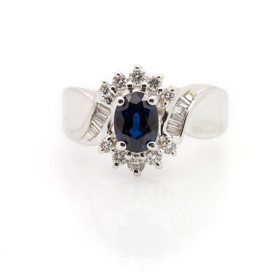 Sapphire & Diamond Ring front view
