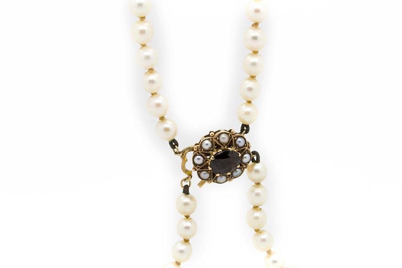Cultured Pearl & Garnet Chocker Necklace