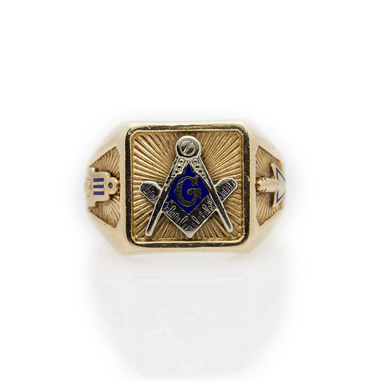 14ct Gold Masonic Ring front view
