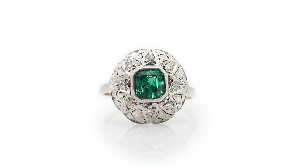 Cushion Cut Emerald Ring view 1