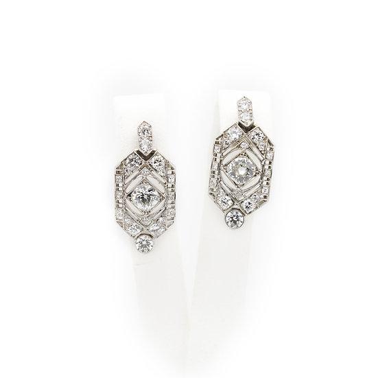 Platinum Art Deco Diamond Earrings