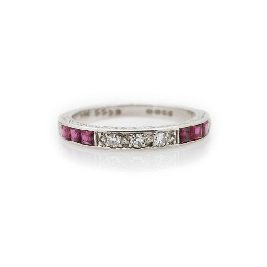 Diamond & Ruby Band Ring view 1