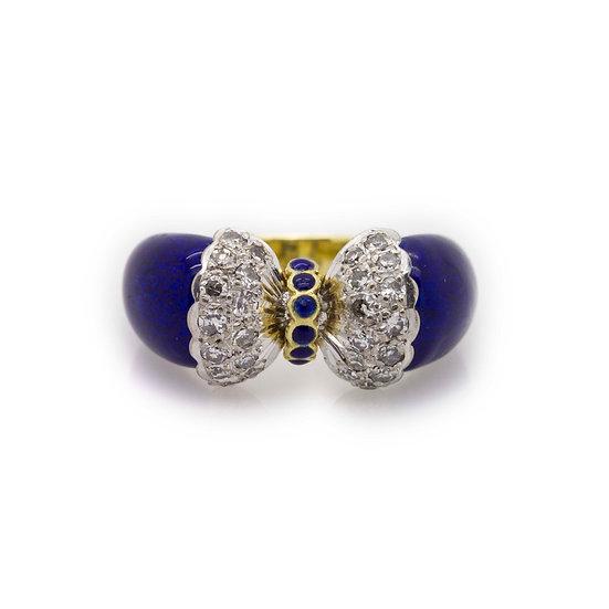 Bow Tie Diamond & Enamel Ring view 1