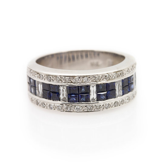 Sapphire & Diamond Band Ring front view