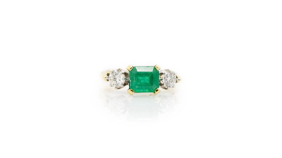 Trilogy Emerald & Diamond Ring front view