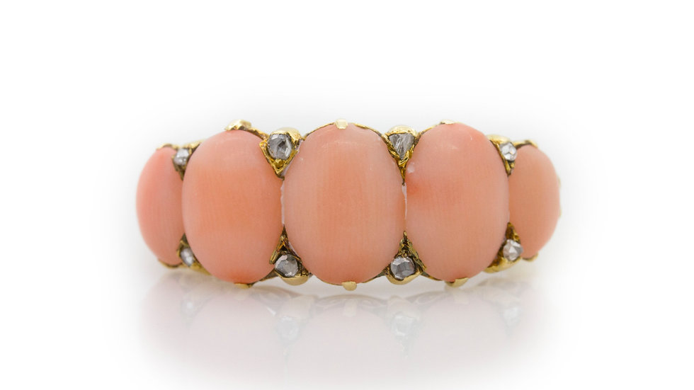Coral and Diamond Ring front view