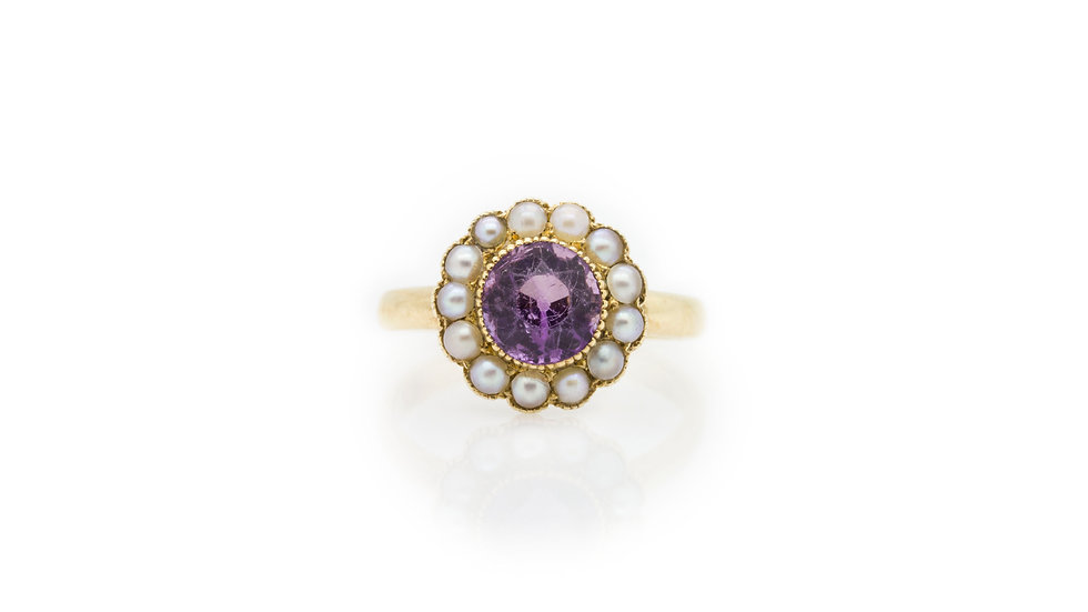 Amethyst & Pearl Ring view 1