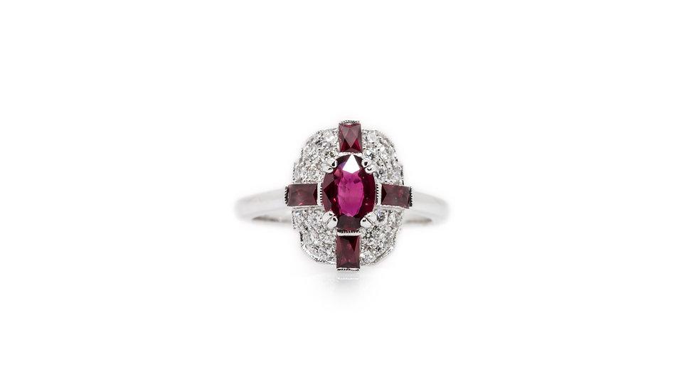 Art Deco Ruby & Diamond Ring view 1