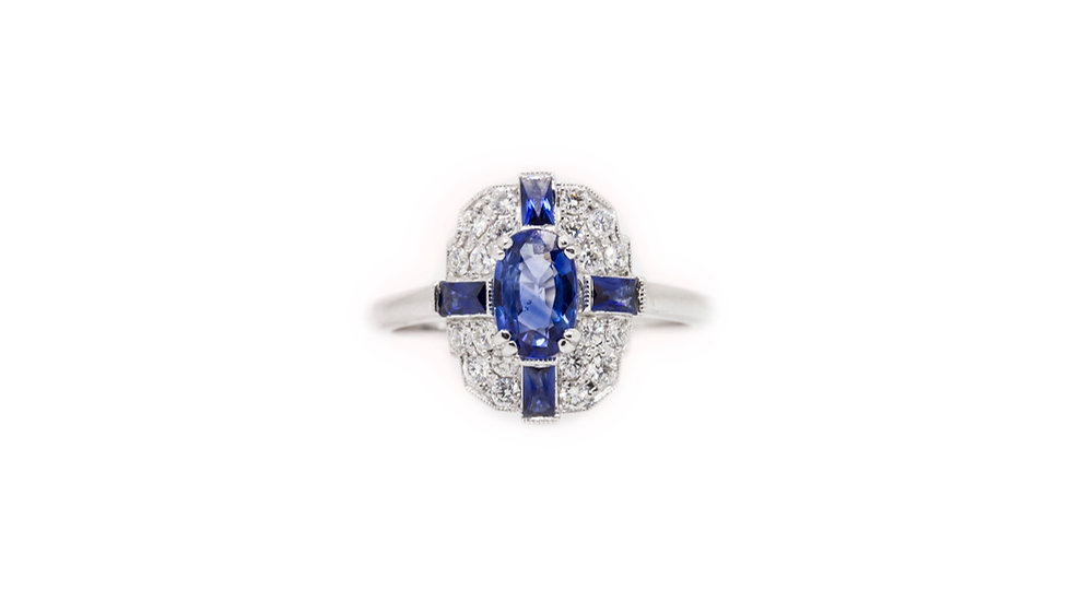 Sapphire & Diamond Art Deco Ring view 1