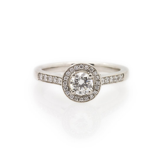 Platinum Diamond Ring With Halo front view
