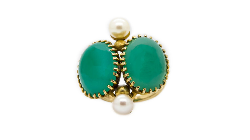 Jade & Pearl Cocktail Ring view 1