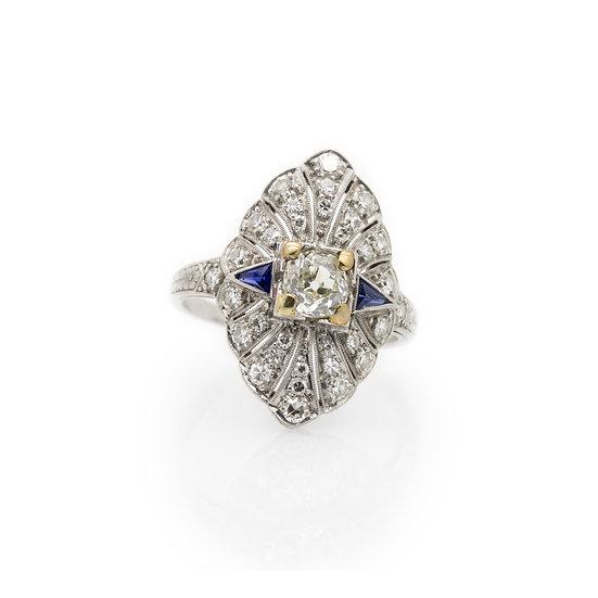 Platinum Art Deco Diamond Ring front view
