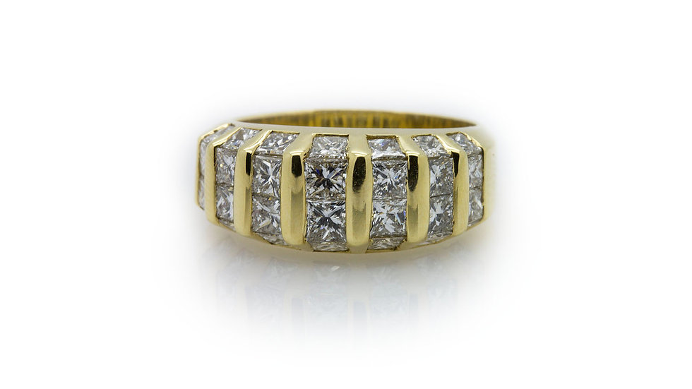 18ct yellow gold wide band with 2.80ct of princess cut diamonds