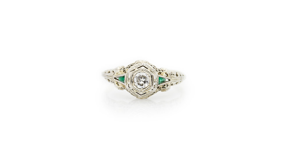 Filigree  Diamond & Emerald Ring front view