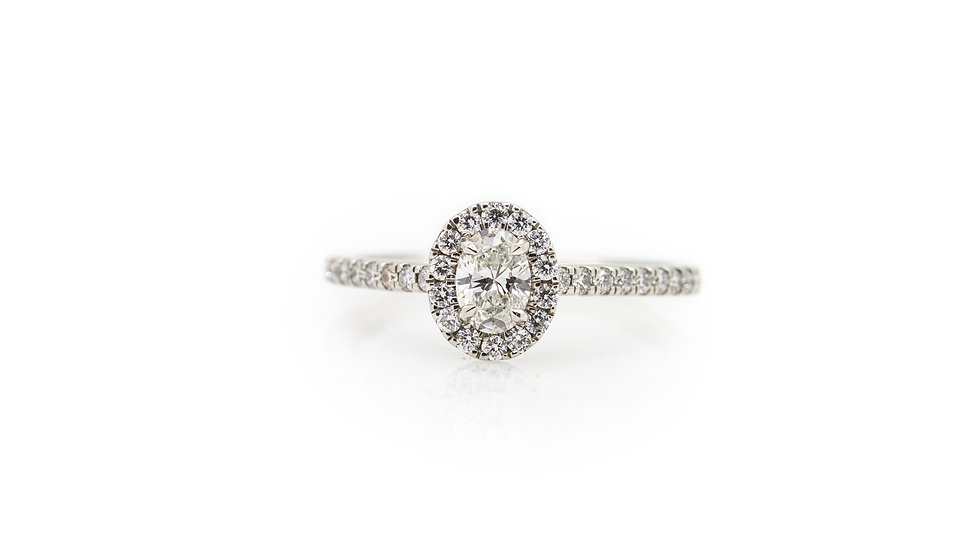 Oval Halo Diamond Solitaire Ring