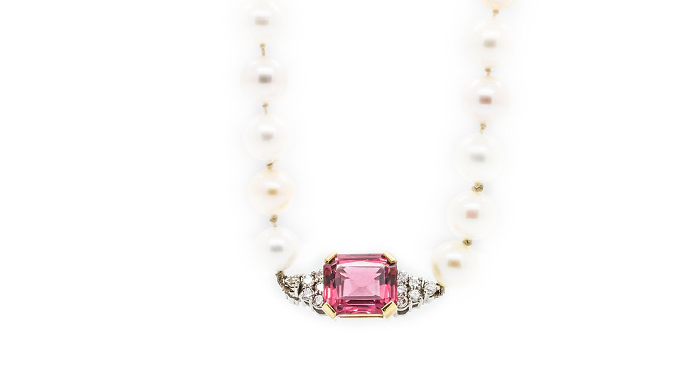 Classic Pearl Necklace With Pink Tourmaline view 1