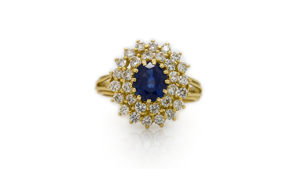 Sapphire & Diamond Cluster Yellow Gold Ring view 1
