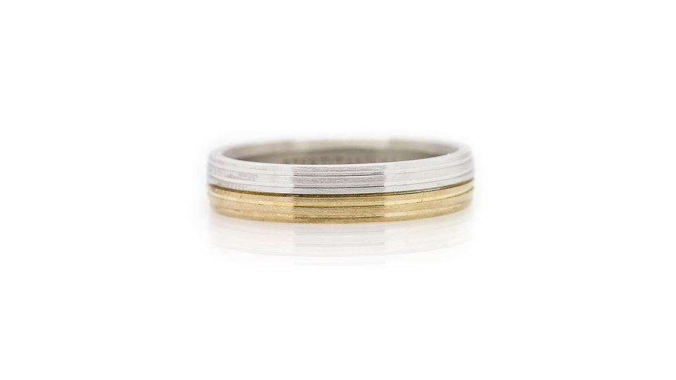 Titanium & Gold Grooved Mens Wedding Band