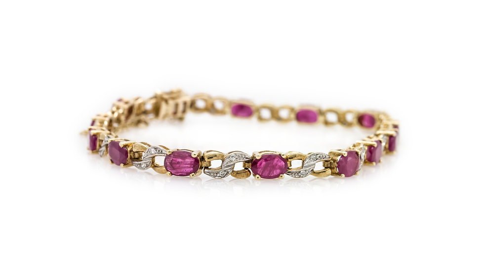Oval Ruby Bracelet 18ct Yellow Gold Mulroy Antiques view 1