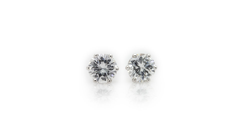 1.10 Brilliant Round Cut Diamond Solitaire Earrings