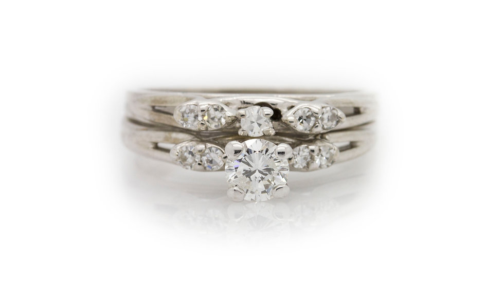 white gold diamond ring front view