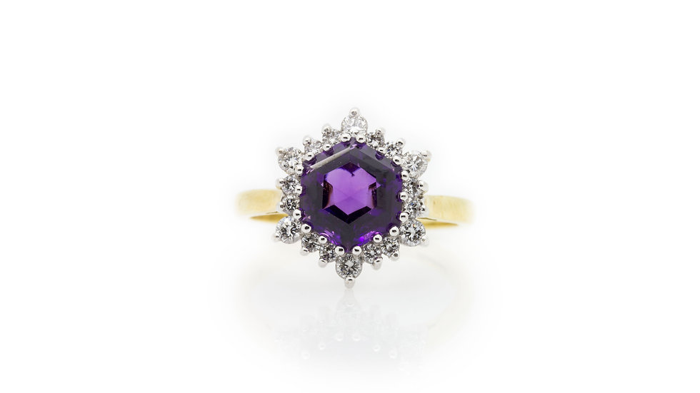 Old Mine Cut Amethyst Ring with diamond halo